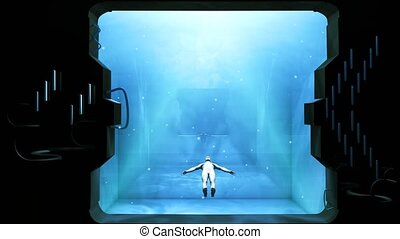 """""""Clone human is suspending in pool where the camera watch through porthole. Abstract Futuristic Concept with humanoid. 3d rendering."""""""