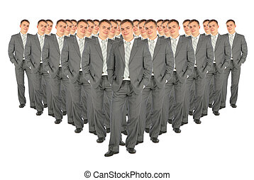 clones, collage, foule, business