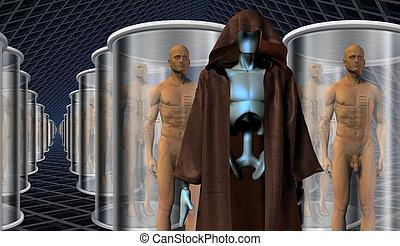 clones, leur, robot, keepers