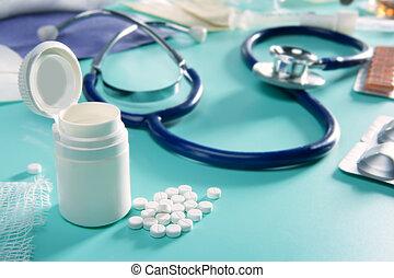 cloque, pharmaceutique, monde médical, remplir, stéthoscope, pilules
