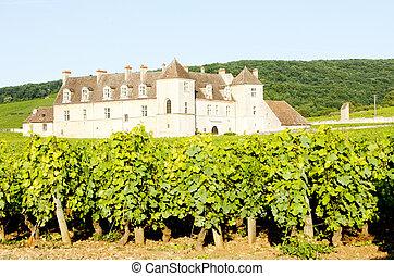 clos, de, francia, vougeot, borgoña, blanc, castillo