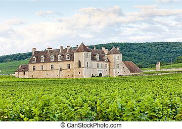 clos, de, frankrijk, vougeot, bourgogne, blanc, kasteel