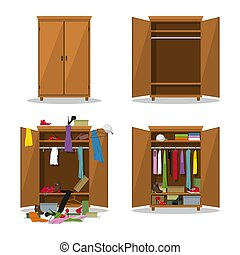 Close and open wardrobe set, before untidy and after tidy ...