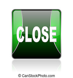close black and green square web glossy icon