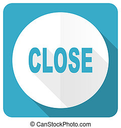 close blue flat icon