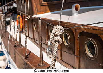 Close board of an old wooden yacht
