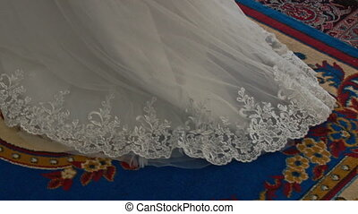 Close Bride White Long Lacy Dress from Floor up to Shoulders