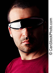 male man with futurist glasses - Close detail view of a ...
