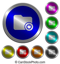 Close directory luminous coin-like round color buttons