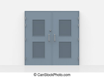 Close Door in  Wall over white background