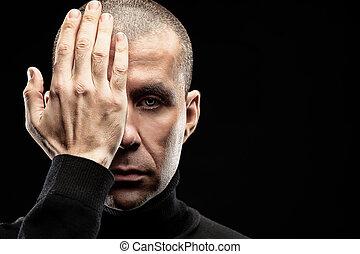 close eye hand