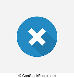 close Flat Blue Simple Icon with long shadow