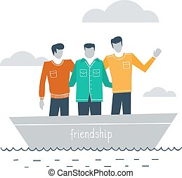 Close friends together - Best friends in a boat outdor, ...