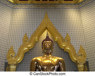 close front shot of the golden buddha at wat traimit temple