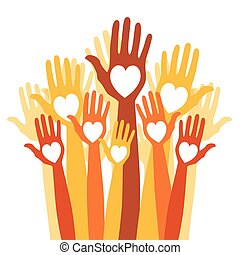 Close group of loving hands.