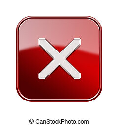 close icon glossy red, isolated on white background
