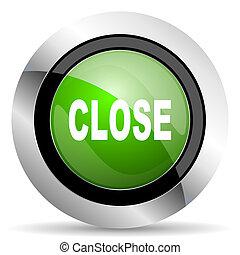 close icon, green button