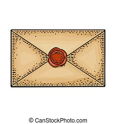 Close kraft paper envelope with sealing wax. Vector color vintage engraving