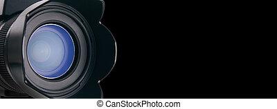 Close lens view - Photo dream world. Lens of a camera\'s...