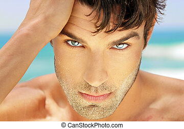 Highly detailed close-up portrait of handsome man with beautiful eyes