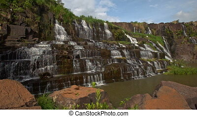 Close Motion from Stones to Waterfall Cascade Panagarh