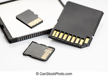 Close of of a Group of memory cards on white table