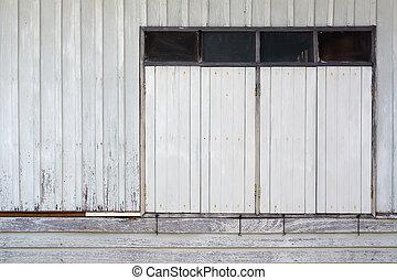 Close Old white wood window