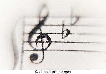 close op of a sheet of music