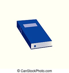 Close paper book with blue hardcover flat icon for back to school or literary leisure concept.
