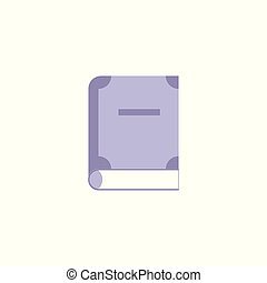 Close paper book with hardcover flat icon for back to school or literary leisure concept.