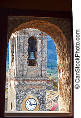 photo of a bell tower clock from above