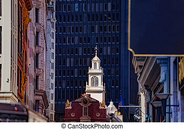 Close photo of an old State House in Boston, MA