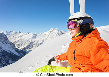 Close portrait of teen girl in sport ski outfit