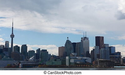 Close real time of the Toronto Skyline