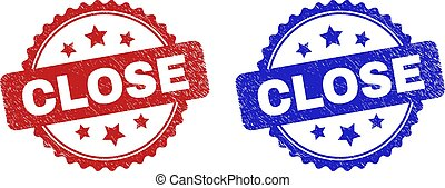 Rosette CLOSE seal stamps. Flat vector distress seal stamps with CLOSE message inside rosette shape with stars, in blue and red color versions. Watermarks with corroded texture.