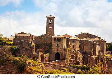 Close shoot of town and fort of Bagnoregio, Lazio, Italy