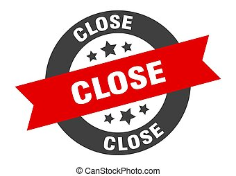 close sign. close black-red round ribbon sticker