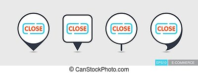 Close sign pin map icon