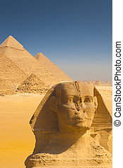 Close Sphinx Face Four Pyramids Shoulder - A beautiful...