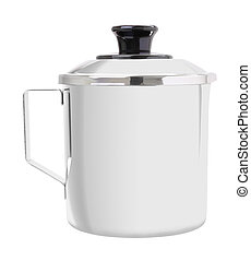 Close stainless cup with handle on white background.