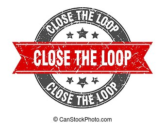 close the loop round stamp with ribbon. label sign