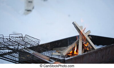 Close to grating lying on a brazier burning flames on a background of snow and birch.