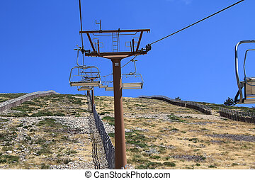 Close to the mast of a chairlift