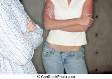 young man and young woman - close, torso shot of young man...