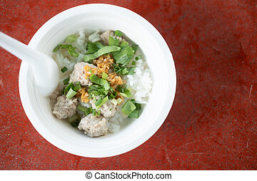 Close up a boiled rice with minced pork