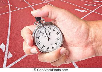 chronometer - close up a chronometer to measure athletic ...
