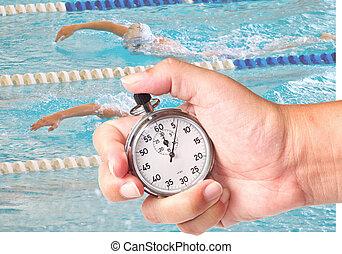 chronometer - close up a chronometer to measure swimming ...