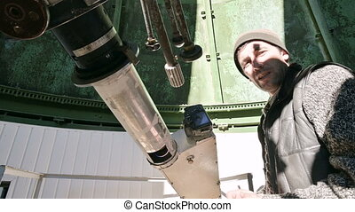 Close-up A professional engineer observer of a solar...