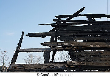 Close up abandoned burnt house