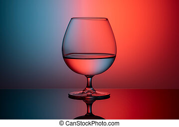 abstract image of glass on red and blue background